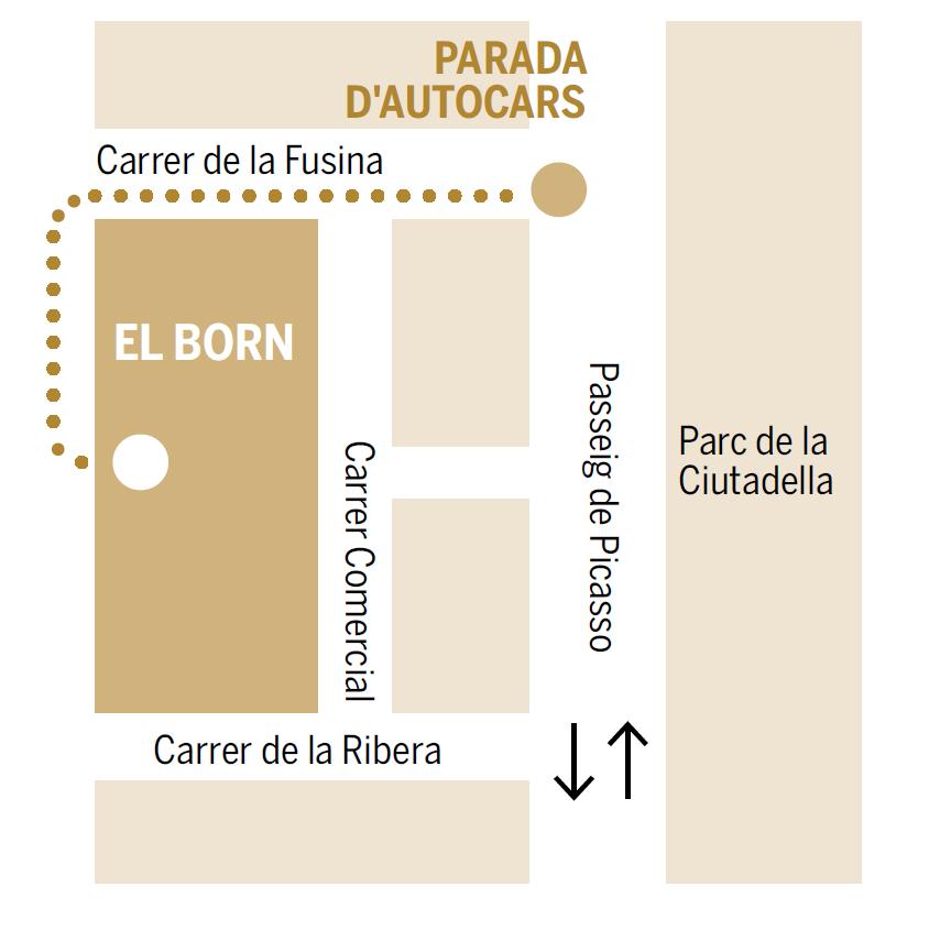 Mapa parada d'autocars - El Born CCM